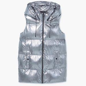 Mango Quilted Metallic Silver Vest • Modern & Chic